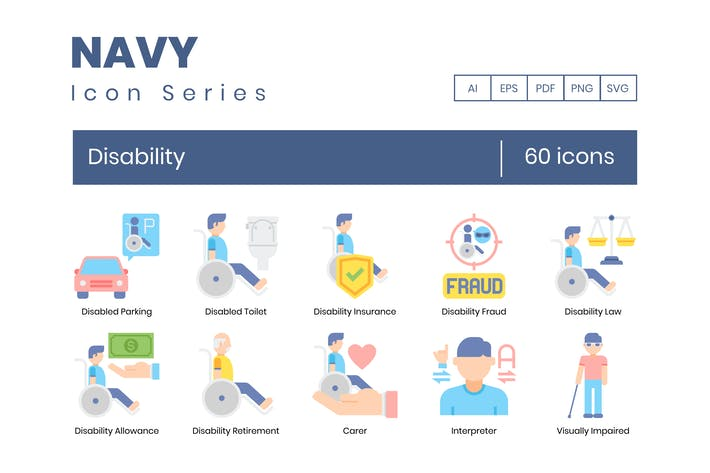 60 Disability Icons | Navy Series