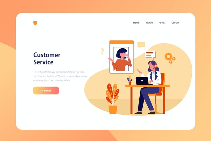 Thumbnail for Customer Service - Website Header Illustration