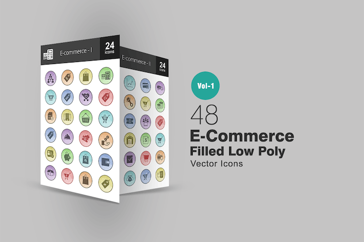 Thumbnail for 48 Ecommerce Filled Low Poly Icons