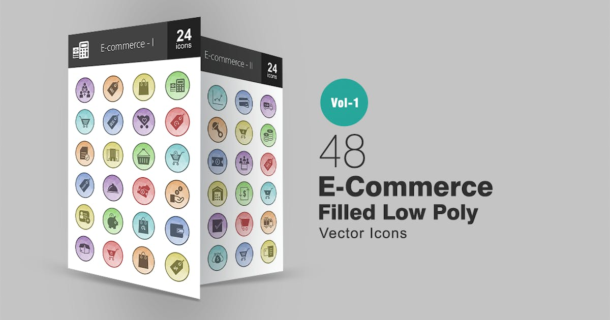 Download 48 Ecommerce Filled Low Poly Icons by IconBunny