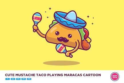 Cute Mustache Taco Playing Maracas Cartoon