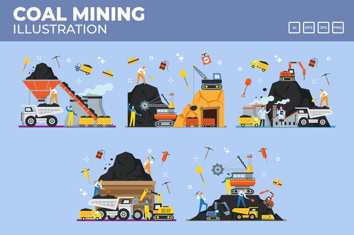 Thumbnail for Coal mining and industry vectors