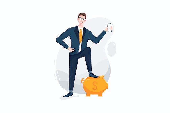Thumbnail for Businessman putting a leg on the piggy bank