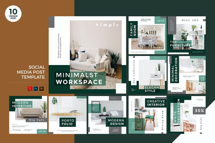 Thumbnail for Office Design Social Media Kit PSD & AI Template