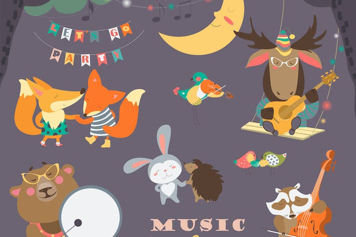 Set of vector illustrations with animals musicians