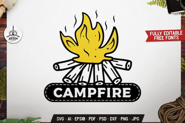 Campfire Camp Adventure Badge Vector Retro Graphic