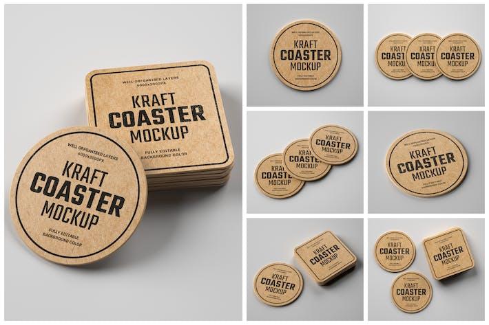 Thumbnail for Kraft Beverage Coaster Mockup Set