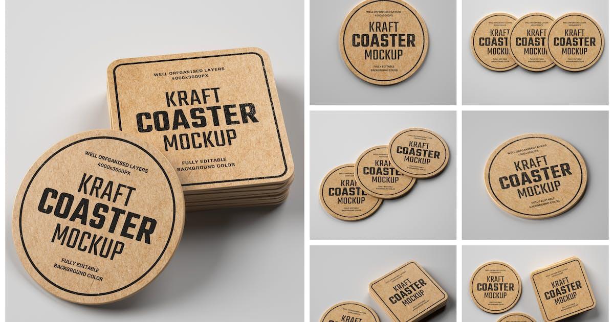 Download Kraft Beverage Coaster Mockup Set by deeplabstudio