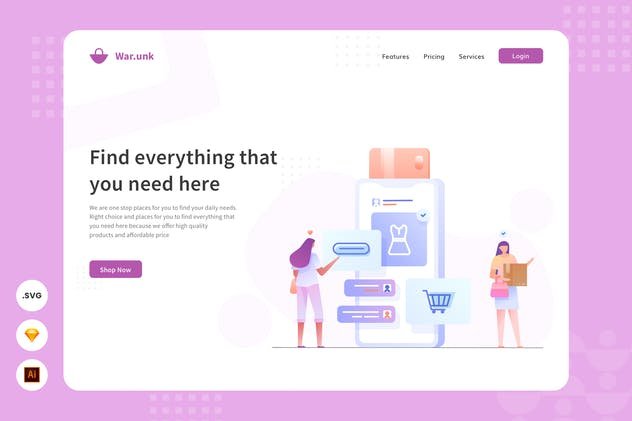 Online Shop - Website Header - Illustration