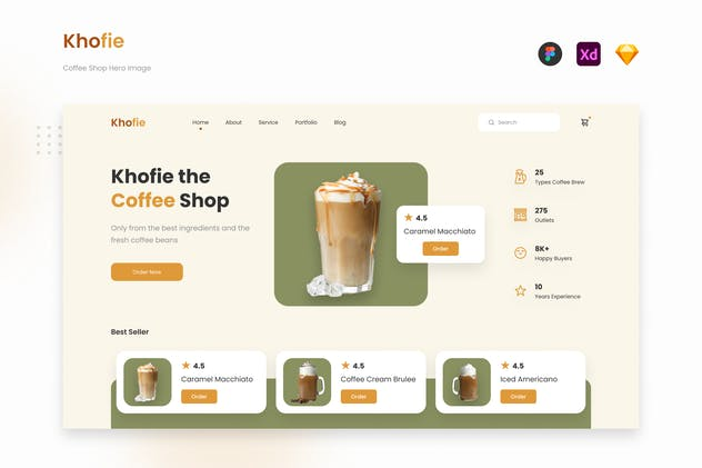 Khofie - Minimalist Coffee Shop Website Landing