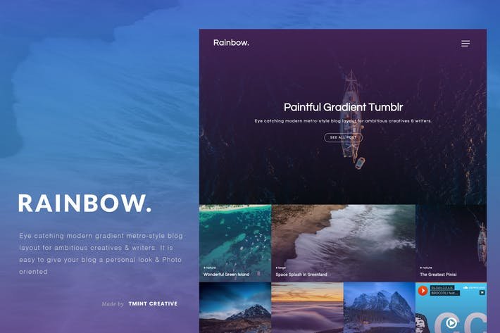 Thumbnail for Rainbow - Gradient Grid Tumblr Theme