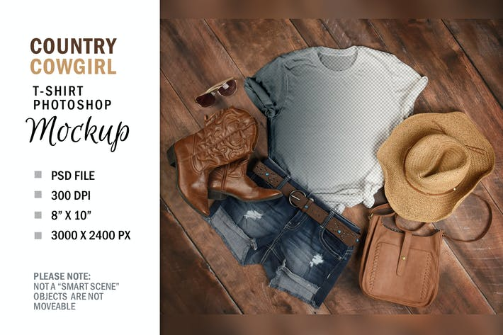Country Smart Layer T-Shirt Mockup Flatlay Display