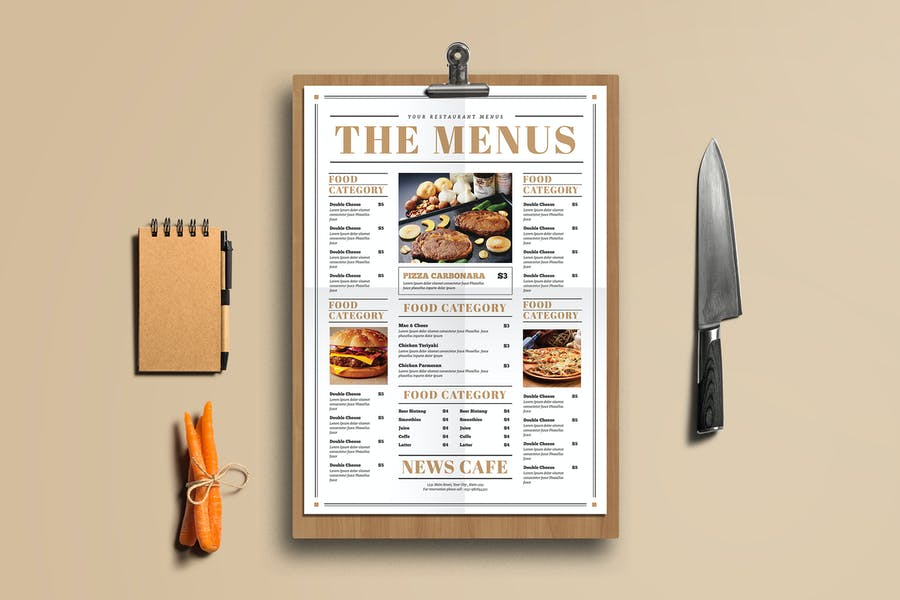 Newspaper Style Food Menus
