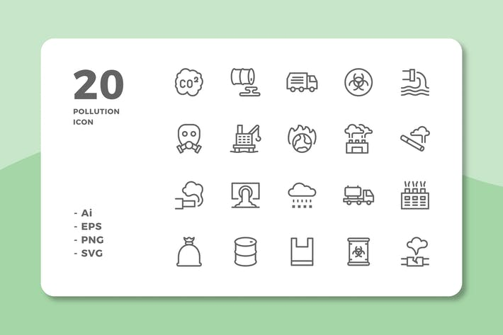 Thumbnail for 20 Pollution Icons (Line)