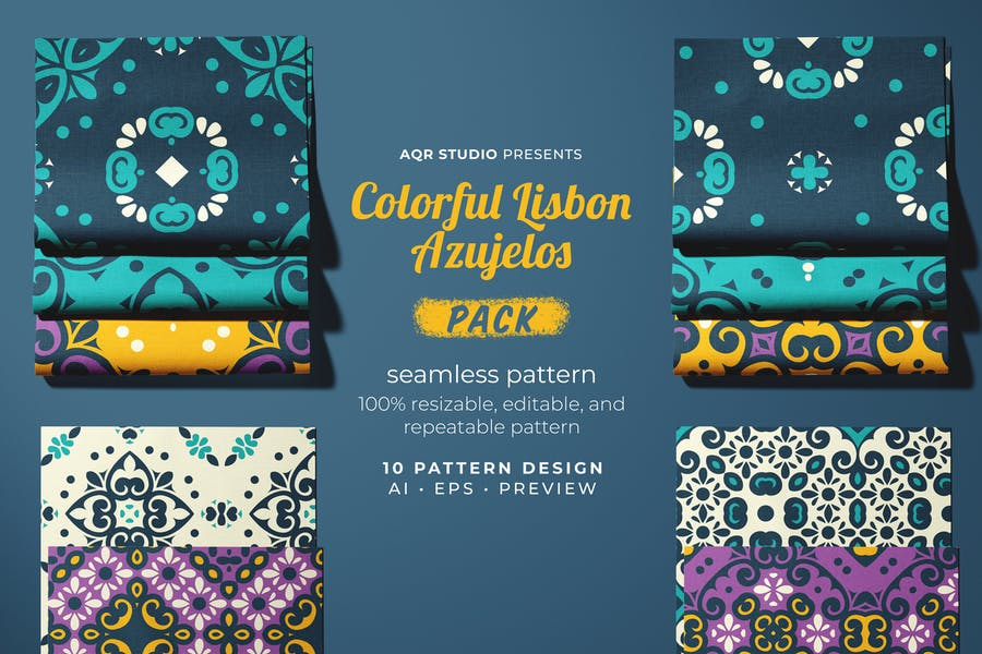 Colorful Lisbon Azujelos - Seamless Pattern