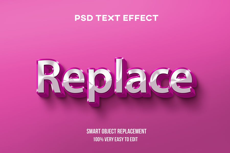 Pink silver glossy text effect