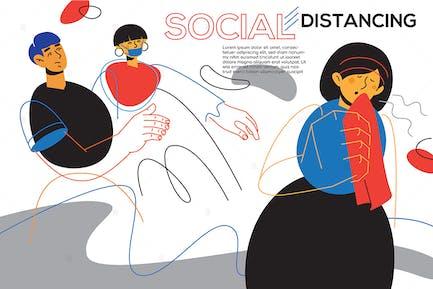 Social distancing idea - flat design style banner