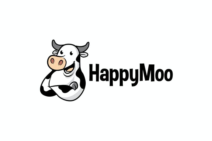 Thumbnail for Cartoon Cute Dairy Cow Mascot Logo