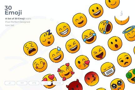 30 Emoji Gesicht Icons