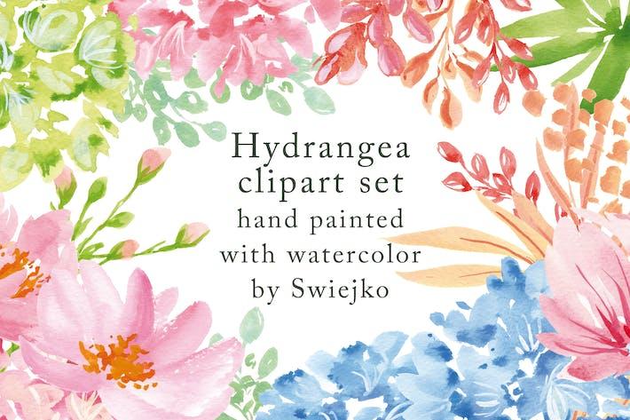 Thumbnail for Hydrangea illustration set, watercolor flowers
