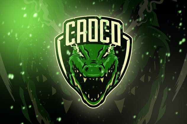 Croco Head Esport Logo Template - product preview 0