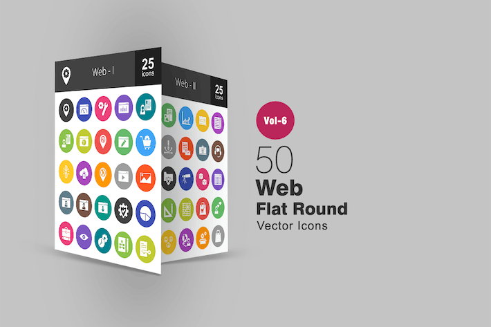 Thumbnail for 50 Web Interface Glyph Multicolor BG Icons