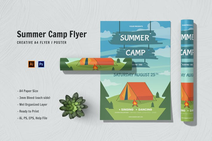 Blue Summer Camp Flyer
