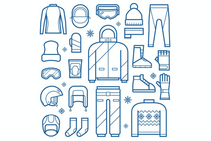 Thumbnail for Winter Clothes and Accessories Line Icons