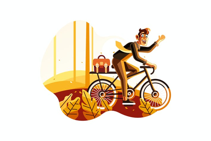 Thumbnail for Man riding bike to work illustration