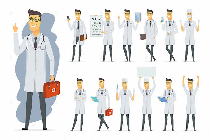 Thumbnail for Doctor - vector cartoon people character set