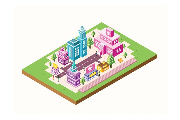 Thumbnail for Isometric City Building Vector Illustration