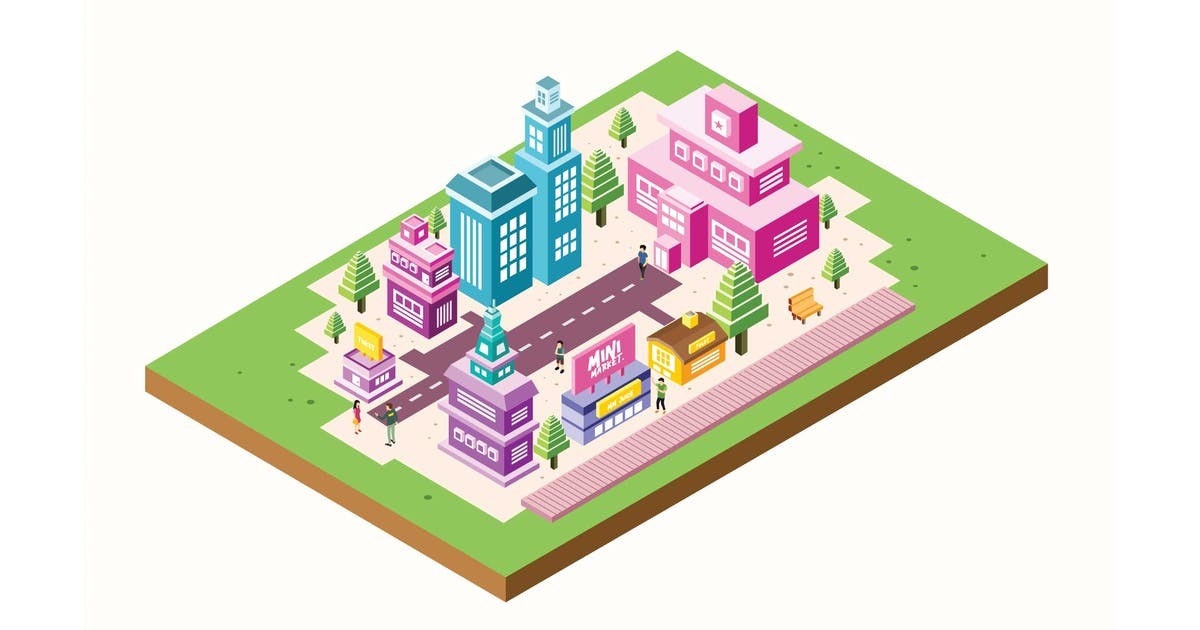 Download Isometric City Building Vector Illustration by IanMikraz