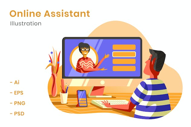 Online Assistant Illustration