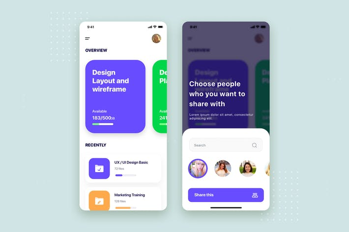 Thumbnail for File Management Mobile App UI Kit Template