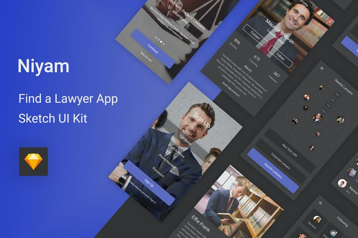 Thumbnail for Niyam - Find A Lawyer Sketch UI Kit