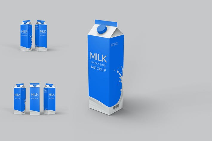 Thumbnail for Milch Verpackung Mockup Photoshop Vorlage