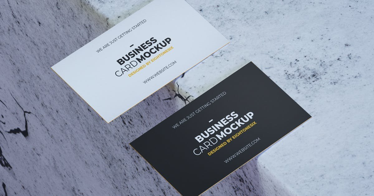 Download Simple Realistic Business Card Mock-Up Template by EightonesixStudios