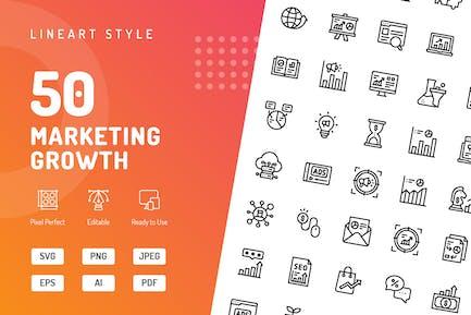 Icons für Marketingwachstumslinien
