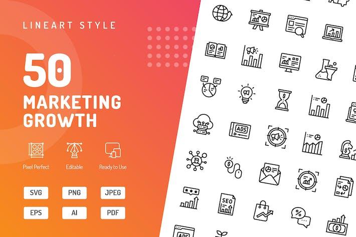 Thumbnail for Icons für Marketingwachstumslinien