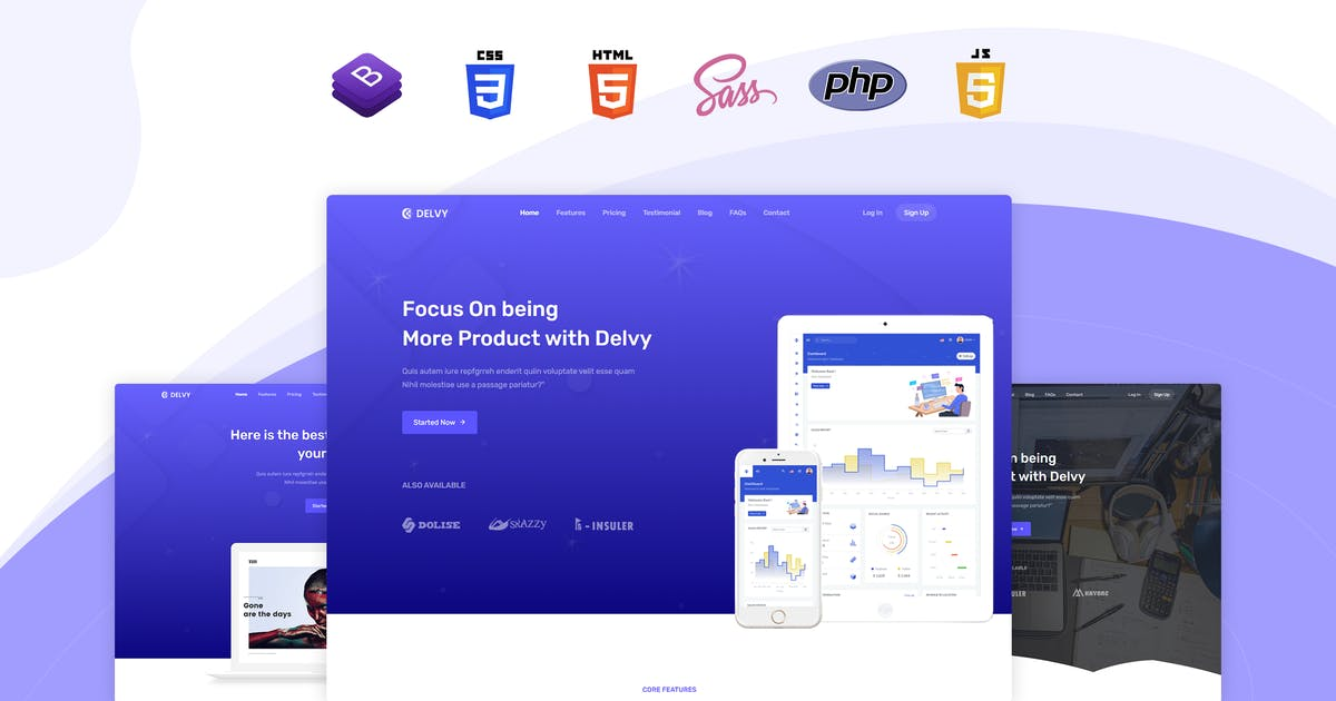 Download Delvy - Responsive Landing Page Template by themesdesign