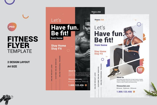 Fitness Online Gym Flyer Template - covid19