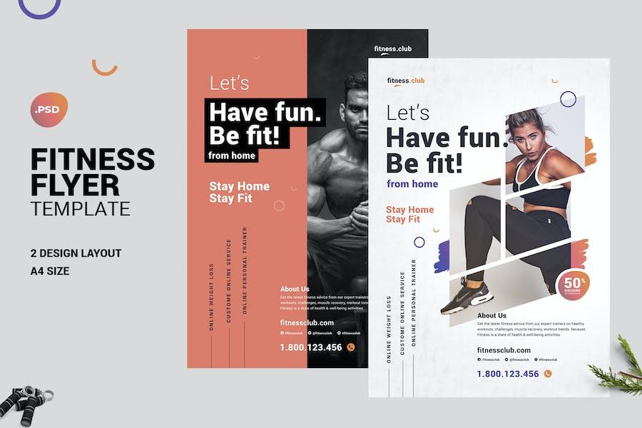Fitness Online Gym Flyer Vorlage - covid19