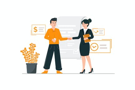Business partnership handshake concept