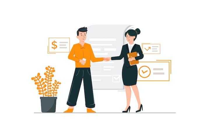 Handshake-Konzept für Geschäftspartnerschaft