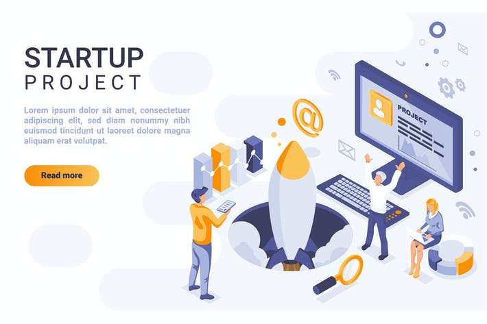 Startup Isometric Header Flat Concept