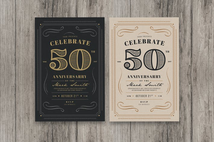 Cover Image For Vintage anniversary invitation