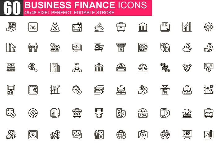 Thumbnail for Business Finance Thin Line Icons Pack