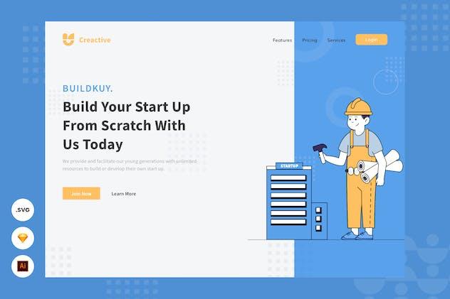 Building a Start Up - Website Header Illustration