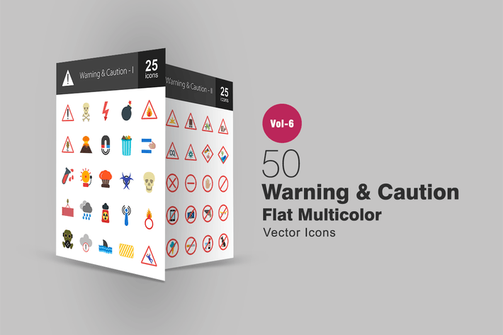 Thumbnail for 50 Warning & Caution Flat Multicolor Icons