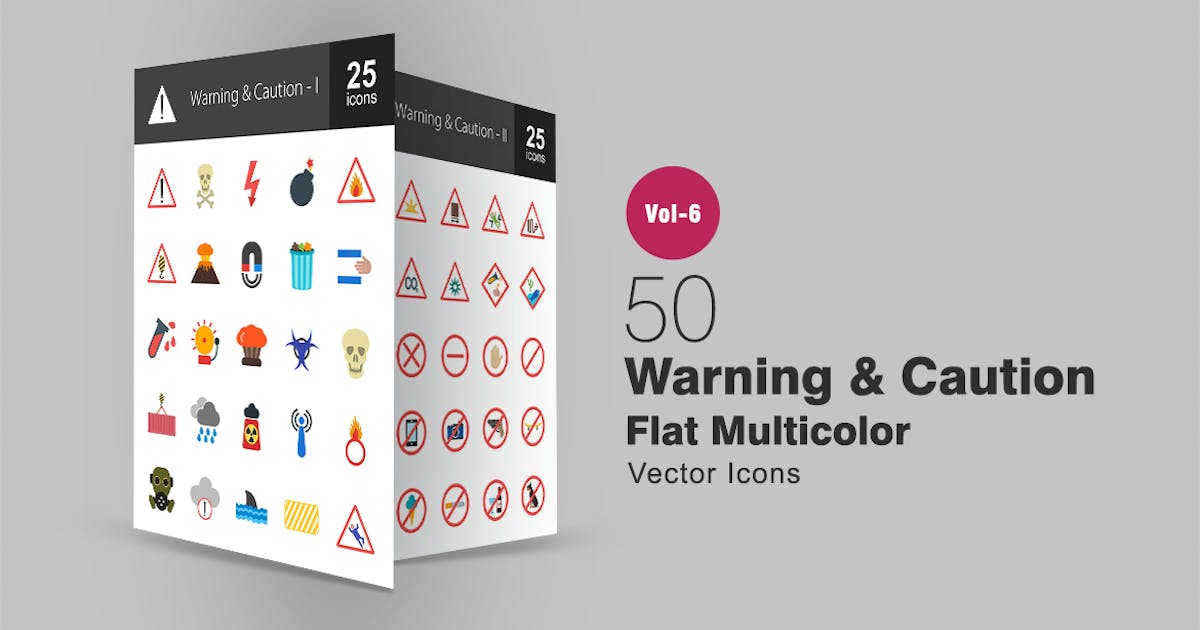Download 50 Warning & Caution Flat Multicolor Icons by Unknow
